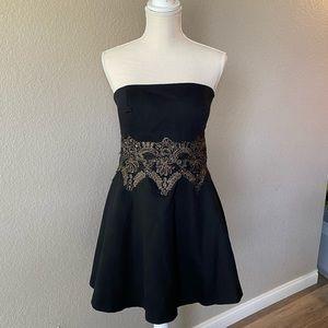 BEBE black embroidered dress